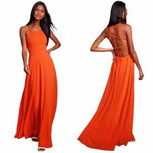 NWT Lulus Strappy To Be Here in Orange Maxi Dress